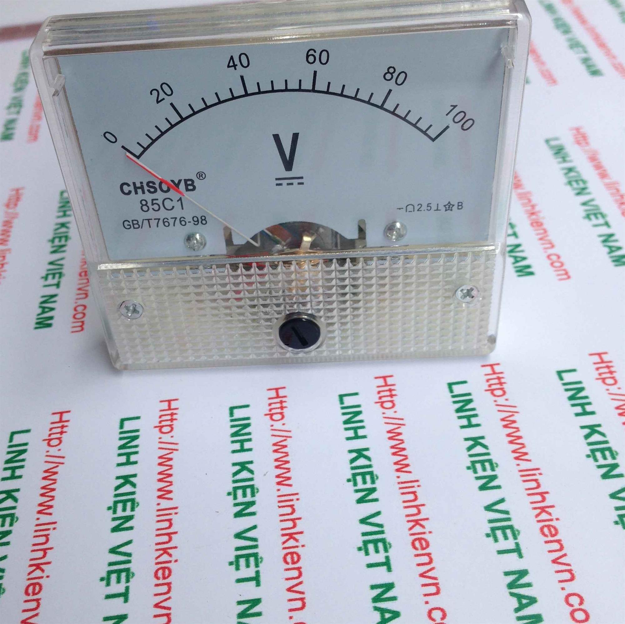Đồng hồ đo điện áp một chiều 85C1 100V / Vôn kế 100V DC- G2H9