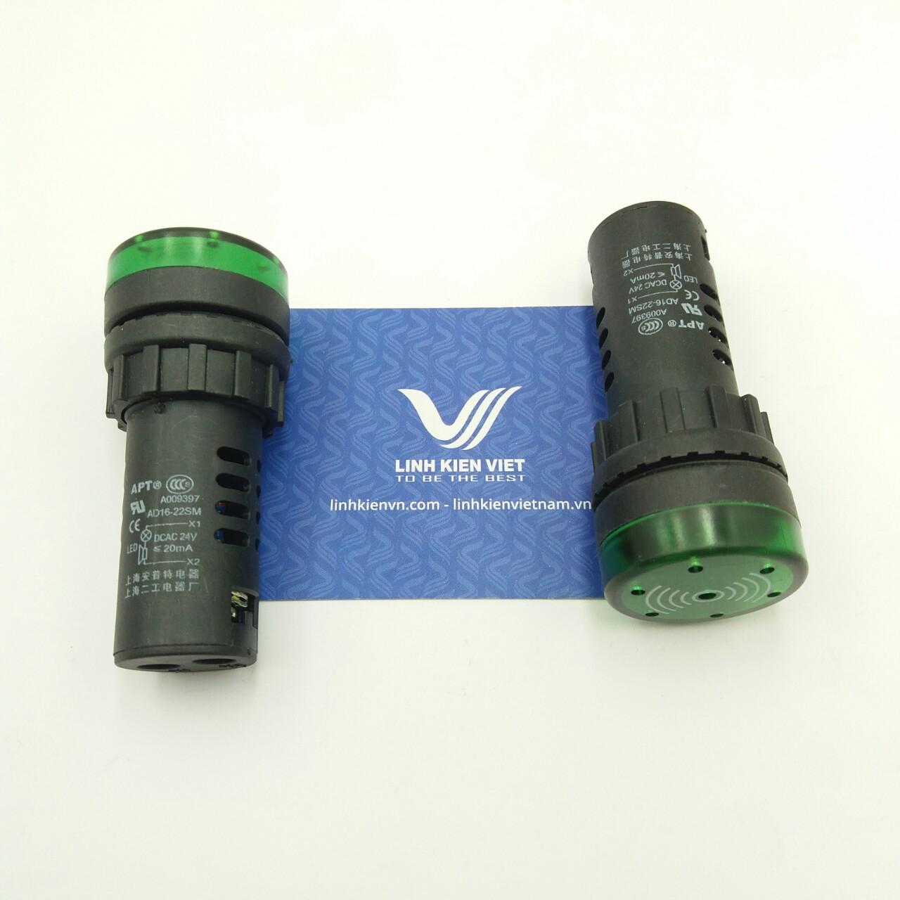 Còi cảnh báo AD16-22SM 24V AC/DC màu xanh lá có đèn i8H14