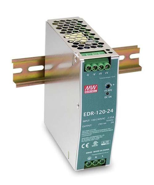 Nguồn tổ ong MEANWELL 12V 10A / EDR-120-12 có chống nhiễu lắp cho tủ điện
