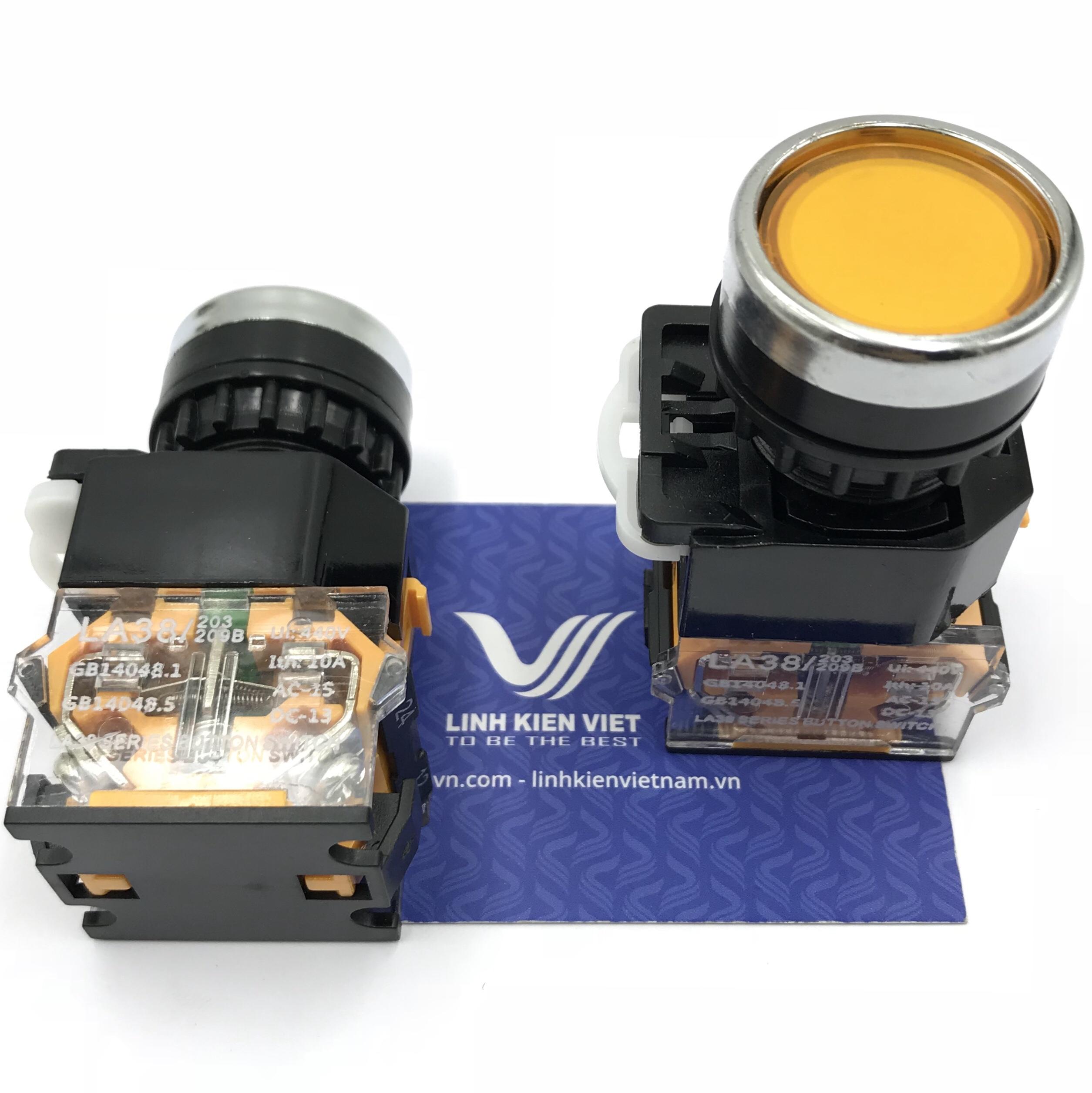 Nút nhấn LA38-11 22mm (Nhấn Giữ) màu vàng - X1H6