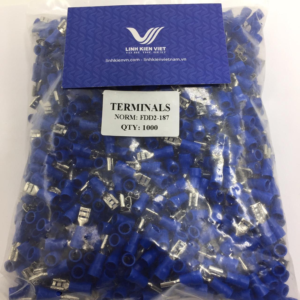 Đầu cốt chữ T 5mm FDD2-187 màu xanh - Gói 1000 cái - S2H18