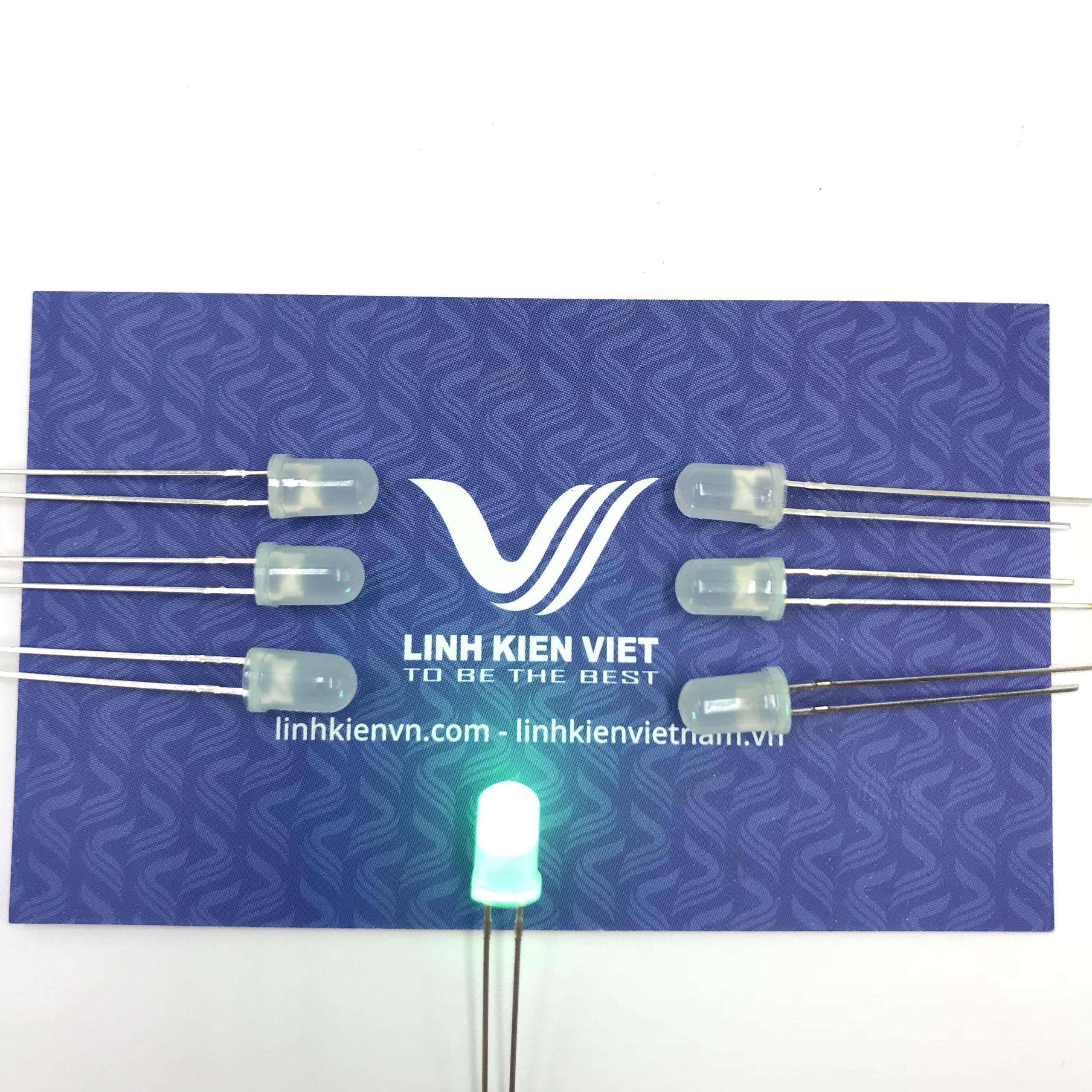 Led siêu sáng đục 5mm mầu xanh lá (10 chiếc) - A5H19 (KA2H1)