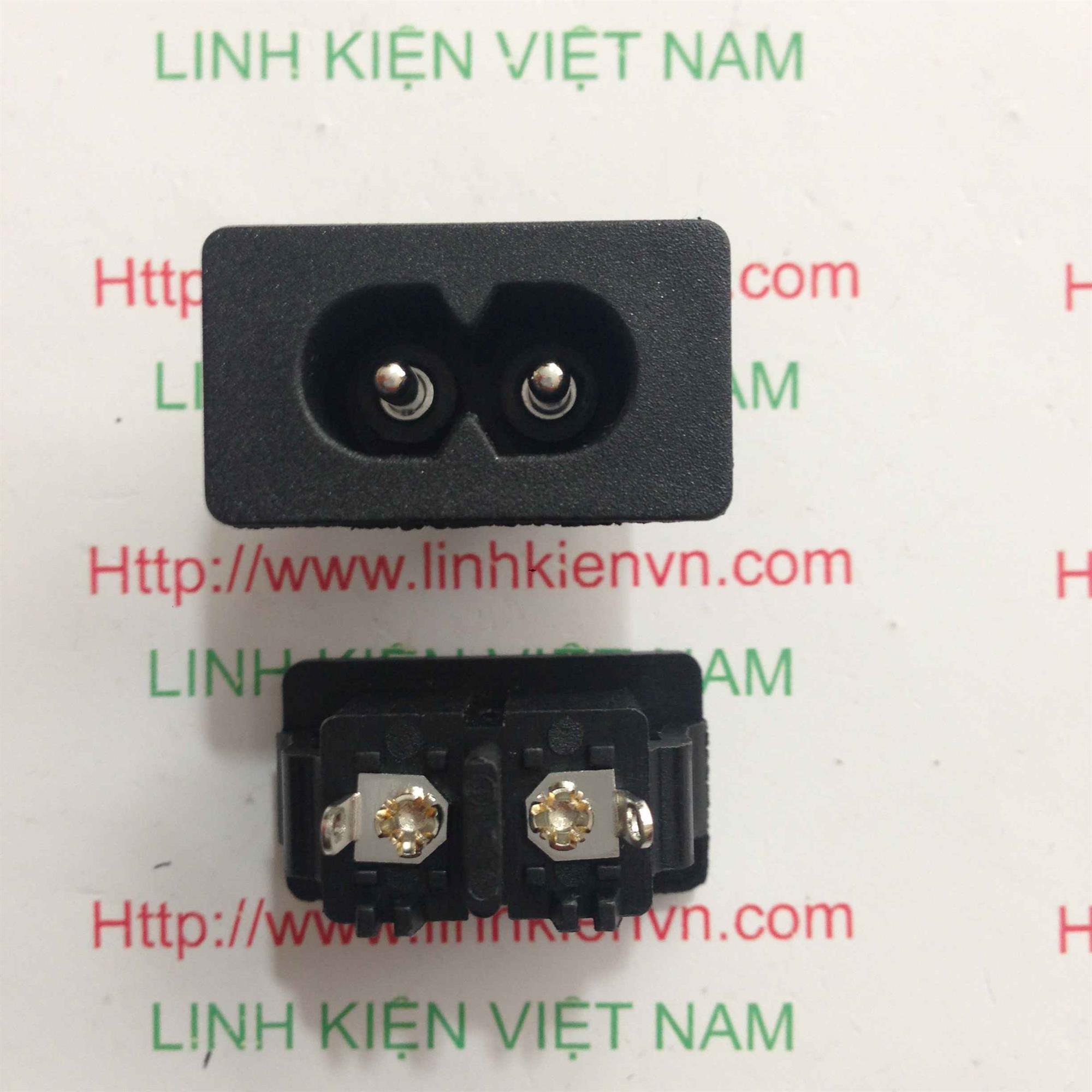Ổ cắm dây nguồn số 8 loại cài / JACK NGUỒN 2 CHÂN AC AC027 - D5H16