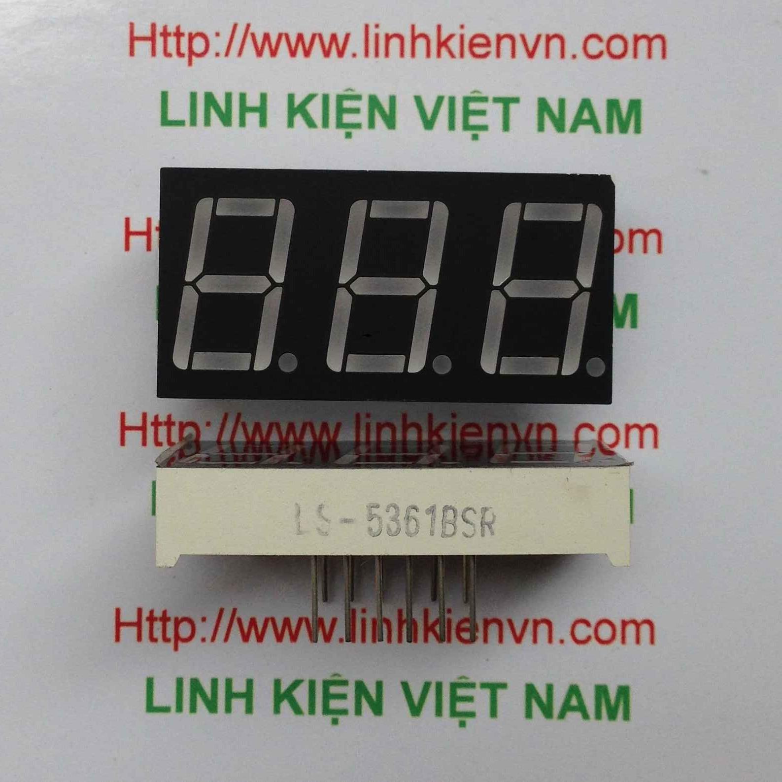 Led 7 thanh 0.56 inch 3 số anot chung màu đỏ - A2H5
