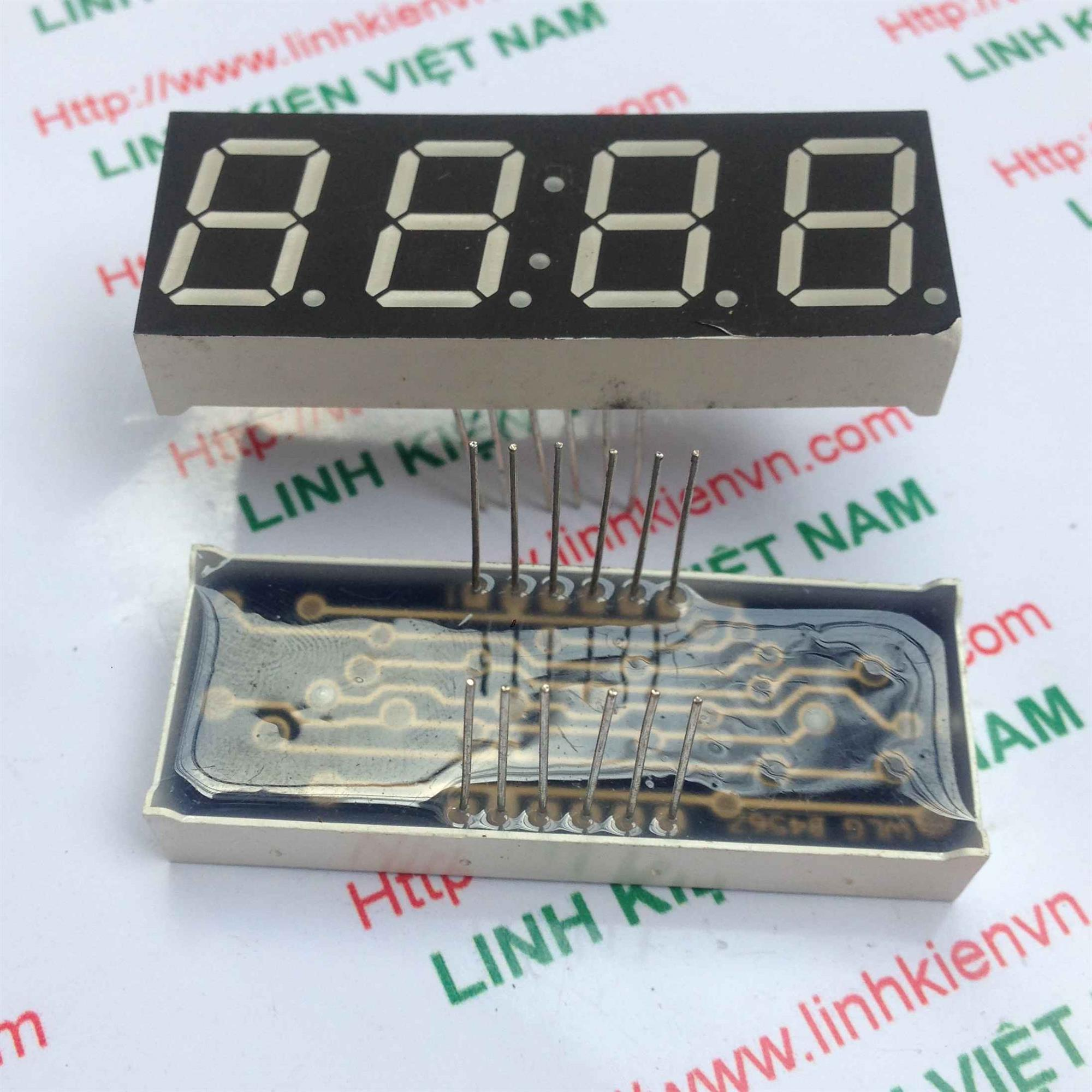 Led 7 thanh 4 số 0.56 inch Anot Chung có hai chấm màu xanh - i1H7