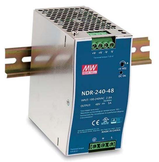 Nguồn tổ ong MEANWELL 24V 10A / NDR-240-24 có chống nhiễu lắp cho tủ điện