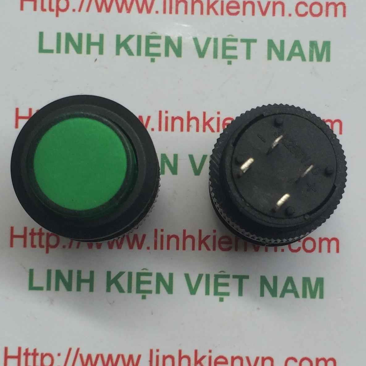 Nút nhấn 3A/250V R16-503AD nhấn giữ màu xanh - D4H20