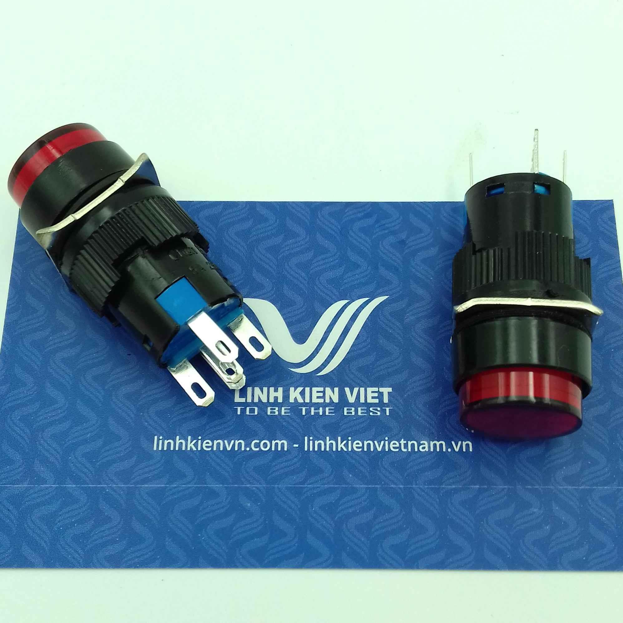 Nút nhấn giữ LA16Y-11DZ 5 chân màu Đỏ có đèn 24V - J5H5