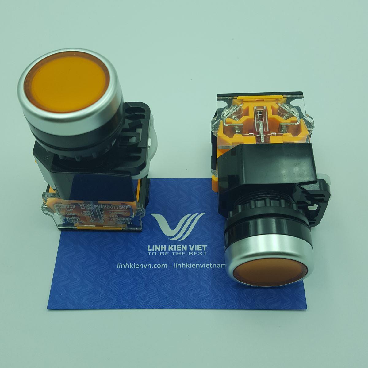 Nút nhấn LA38-11 22mm (Nhấn Nhả) màu vàng - J5H14