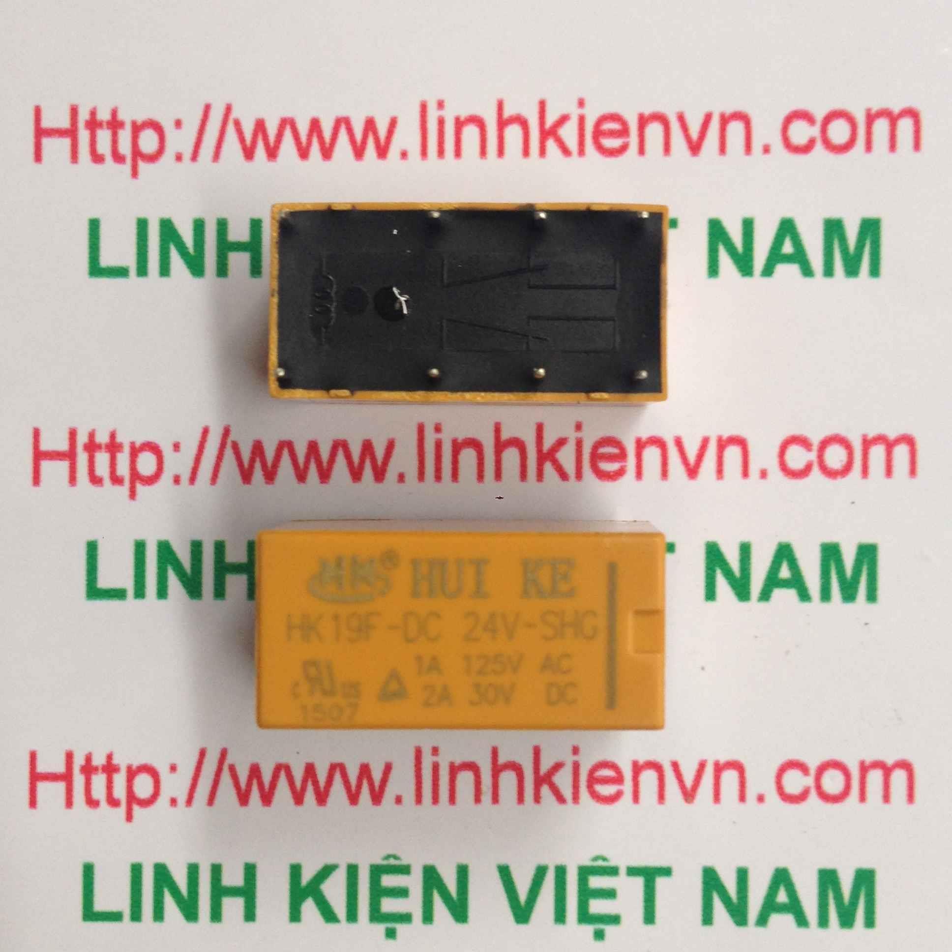 Relay 2 cặp tiếp điểm 24V 2A | Huike HK19F-DC24V-SHG - A1H14(KB4H3)