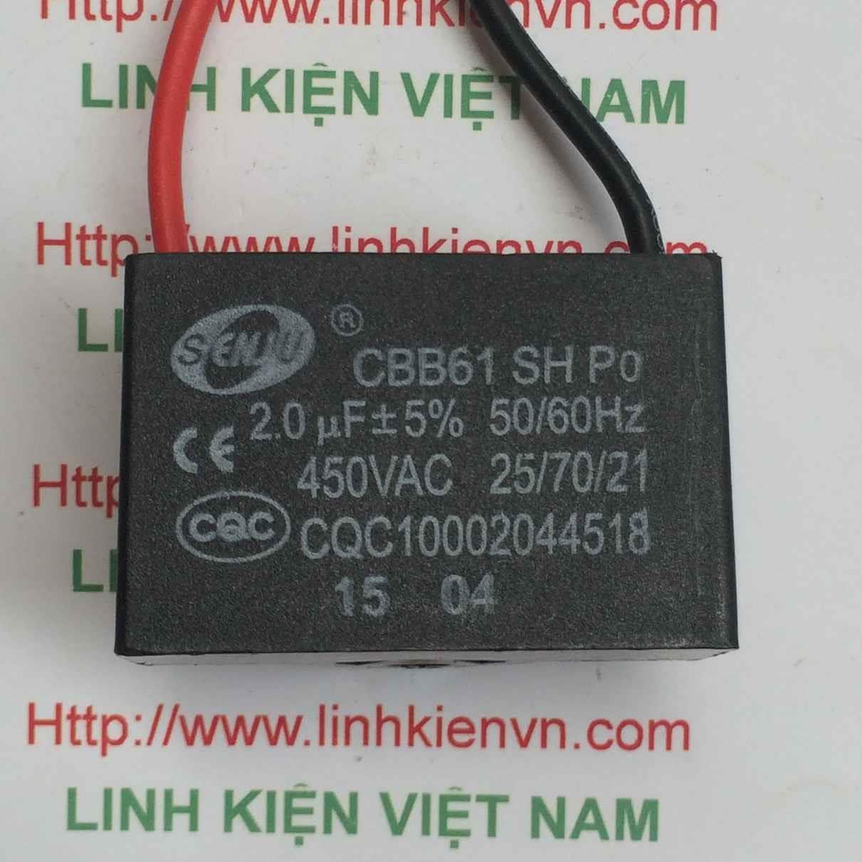 Tụ 2uF/450VAC Tụ quạt 2uF/450V - C3H19