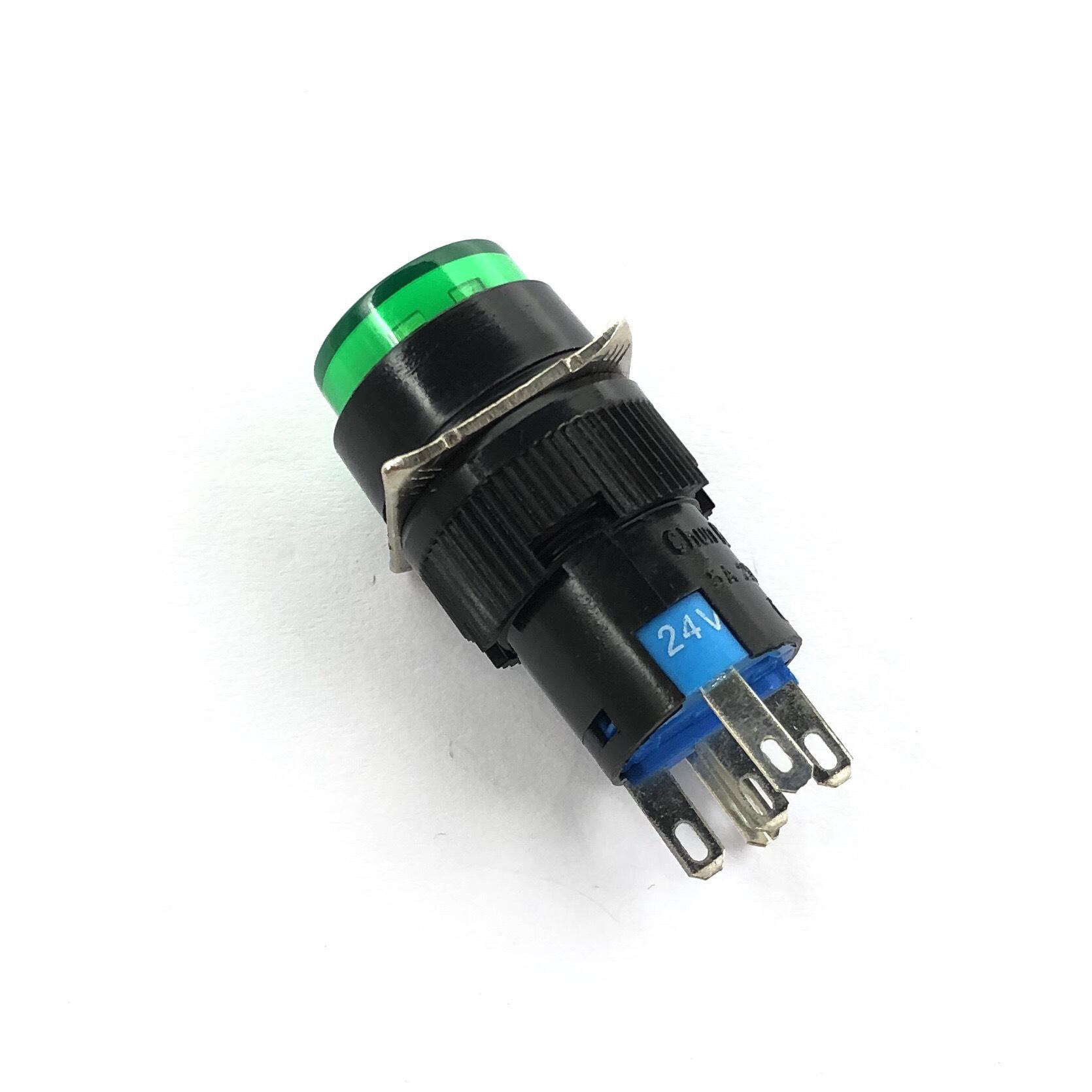 Nút nhấn nhả K16Y-DSA1 LA160 có đèn 5 chân 1 cặp tiếp điểm màu xanh lá - G8H2