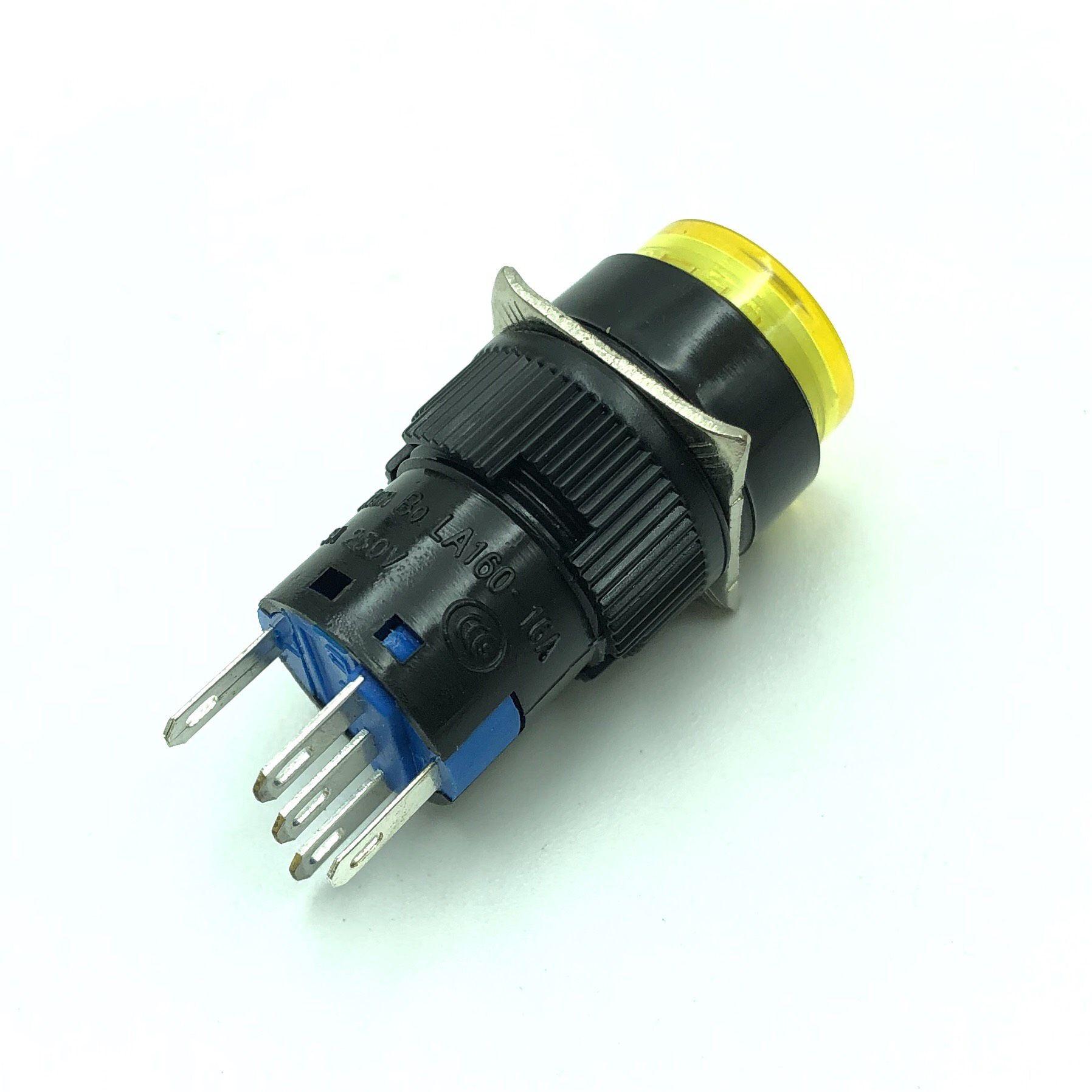 Nút nhấn giữ LA16Y-11DZ 5 chân màu Vàng có đèn 24V - X4H24