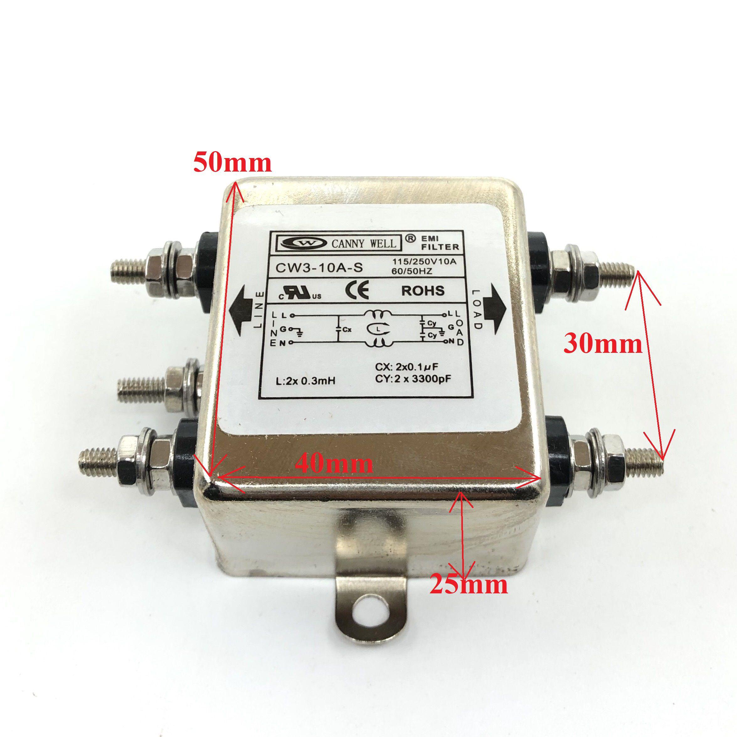 Bộ Lọc Nguồn 1 pha chống nhiễu 10A 115/250V CW3-10A-S      X2H11