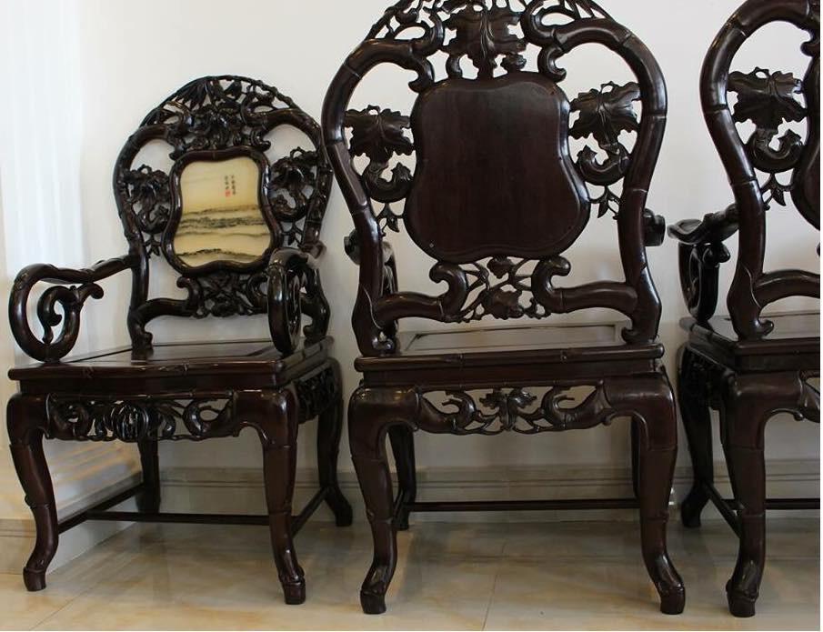 Bộ ghế trúc gỗ gụ