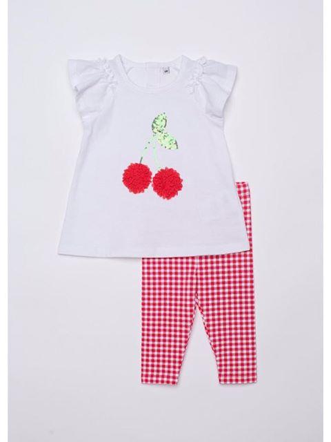 BG-Bộ 2 món Plus áo trắng, quần caro đỏ