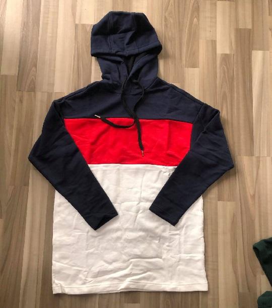 NAM/NU-Áo Hoodie Polham trắng đỏ tay navy