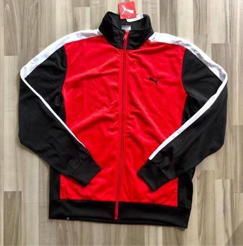 NAM-Áo khoác thể thao Puma đỏ viền trắng đen