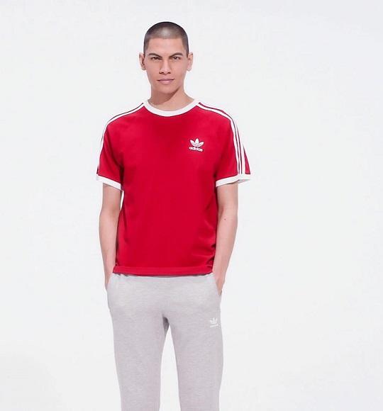 NAM-Áo thể thao Adidas đỏ sọc trắng