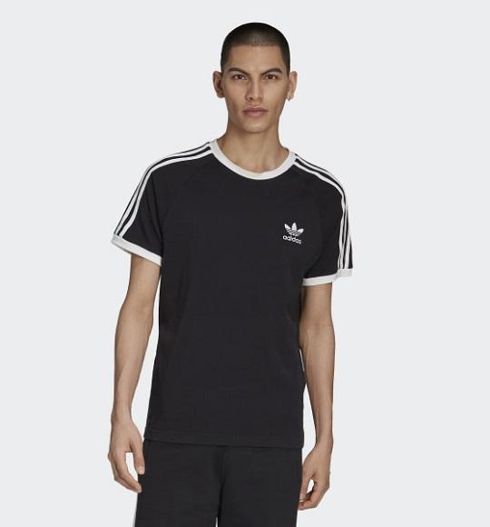 NAM-Áo thể thao Adidas đen sọc trắng