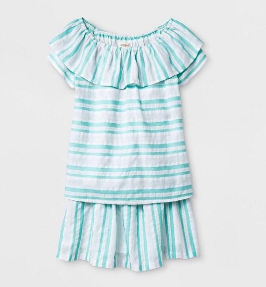 BG -Bộ set áo vải + chân váy Cat & Jack sọc xanh