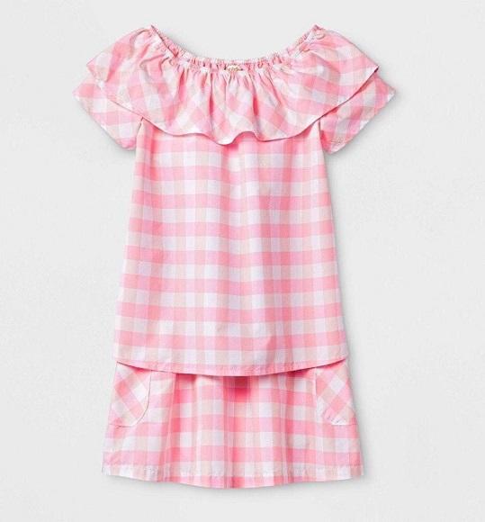 BG -Bộ set áo vải + chân váy Cat & Jack sọc hồng