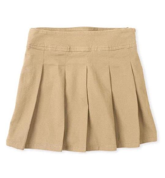 BG-Chân váy khaki  Place kem nhạt vạt ngắn