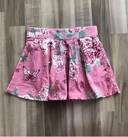 BG-Chân váy thun Place hồng đất hoa lá