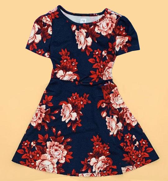 BG-Đầm Gap /H&M navy hoa đỏ