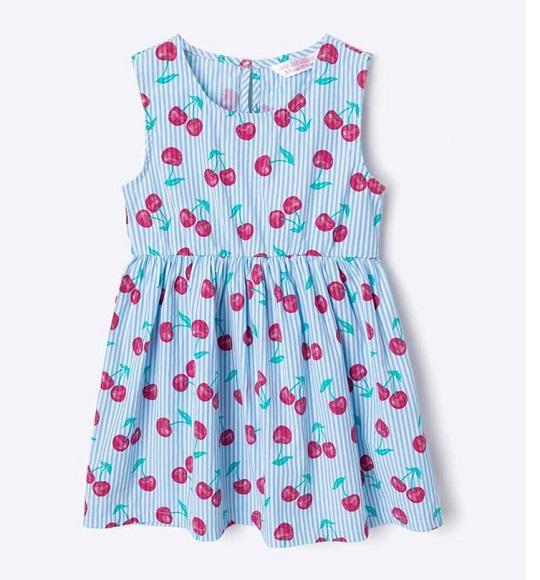 BG-Đầm Geejay xanh sọc cherry