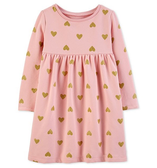 BG-Đầm da ca kết cườm Carters hồng tim
