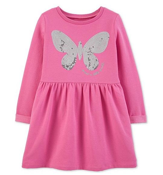 BG-Đầm da ca kết cườm Carters hồng bướm