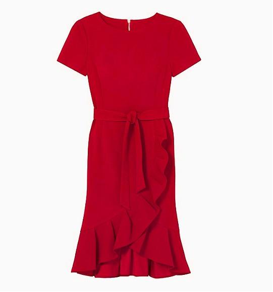 NU- Đầm CK vạt chéo chít eo đỏ