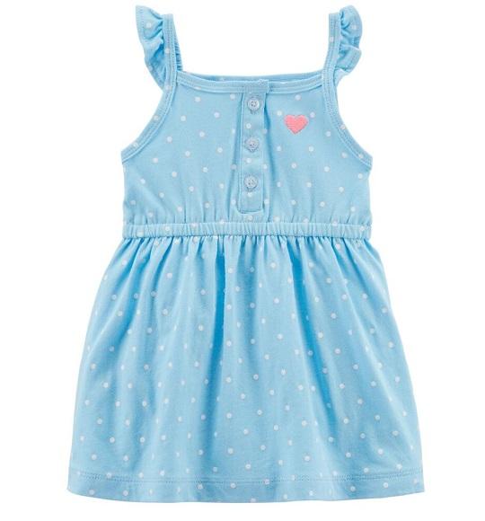 BG-Đầm Carter size nhí xanh chấm trắng