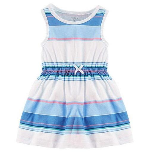 BG-Đầm Carter size nhí sọc ngang xanh trắng