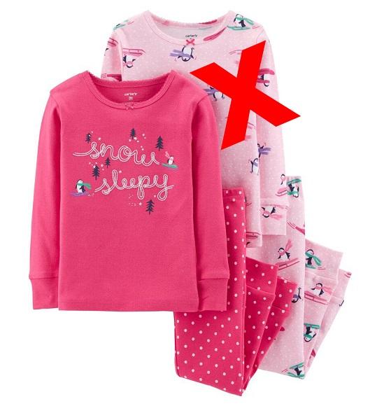 BG-Bộ Sleepwear S2 Carters hồng đậm snow