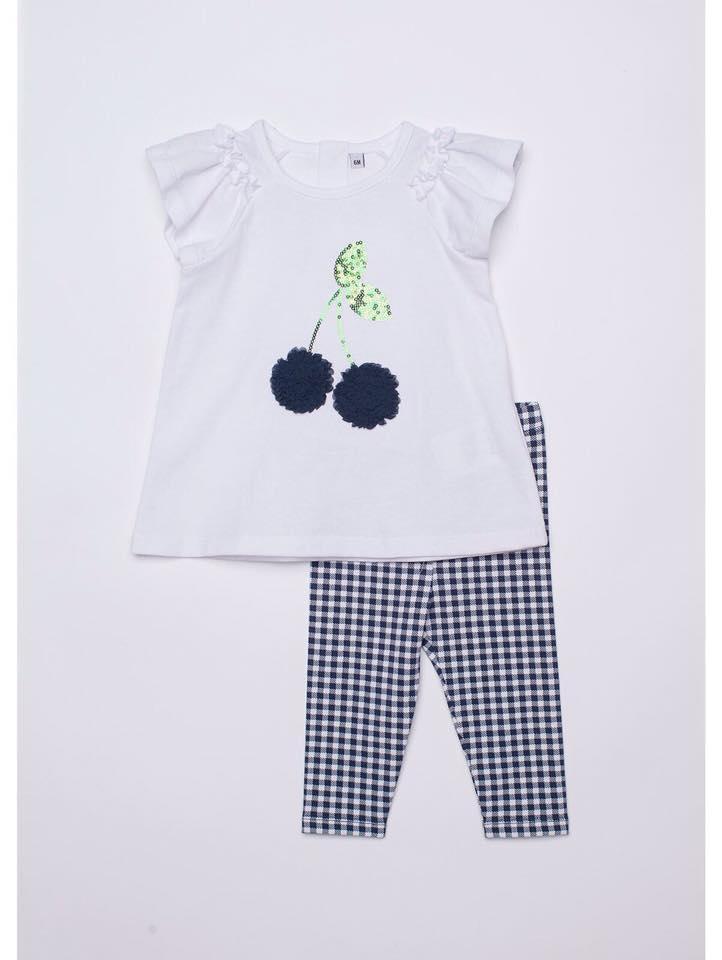 BG-Bộ 2 món Plus áo trắng, quần caro đen