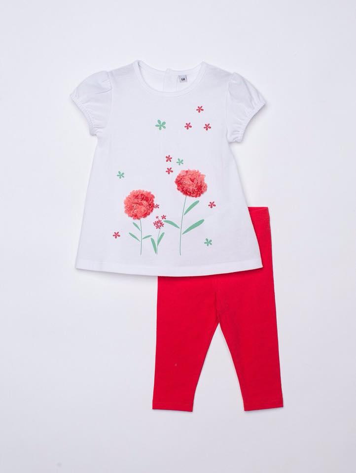 BG-Bộ 2 món Plus áo trắng, quần đỏ đậm