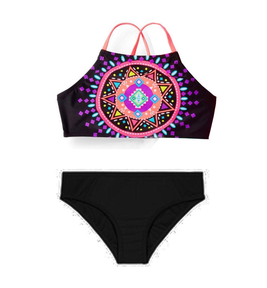 BG-Đồ bơi 2 mảnh áo đen hv quần đen