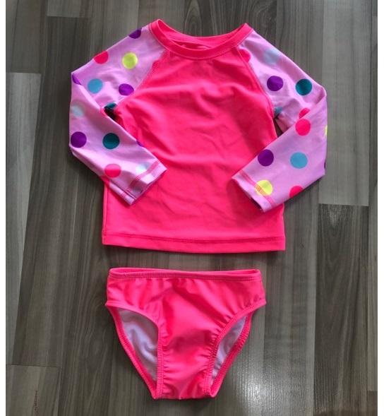 BG-Đồ bơi hồng tay dài bi