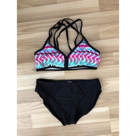 BG-Đồ bơi 2 mảnh quần đen áo xanh tím