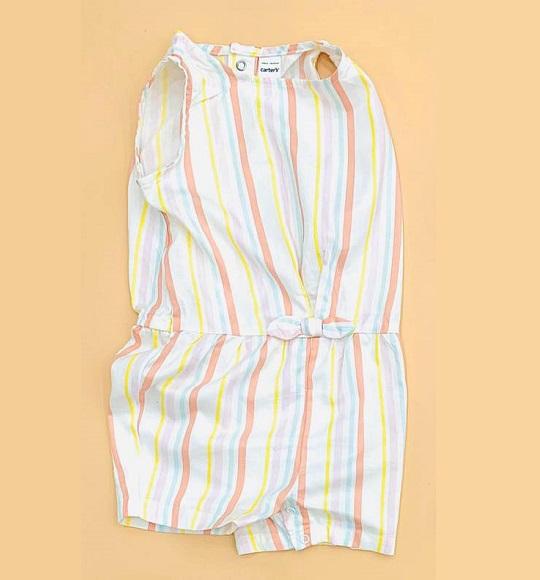 BG-Jumpsuit vải+thun Carters trắng sọc
