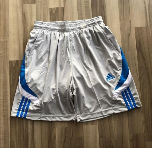 NAM-Short thể thao Adidas xám viền xanh trắng
