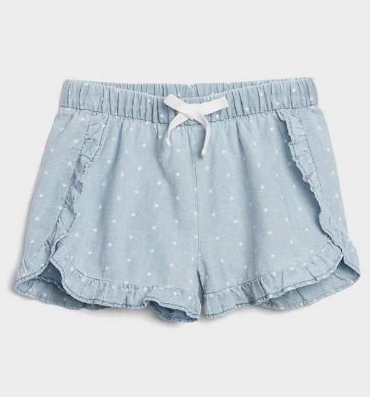 BG-Short vải Baby Gap xanh dương bi trắng