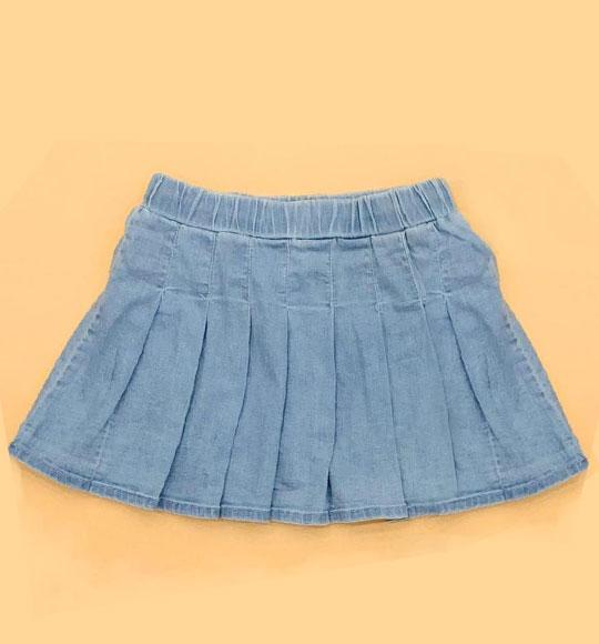 BG-Váy quần Jean xanh nhạt xếp ly