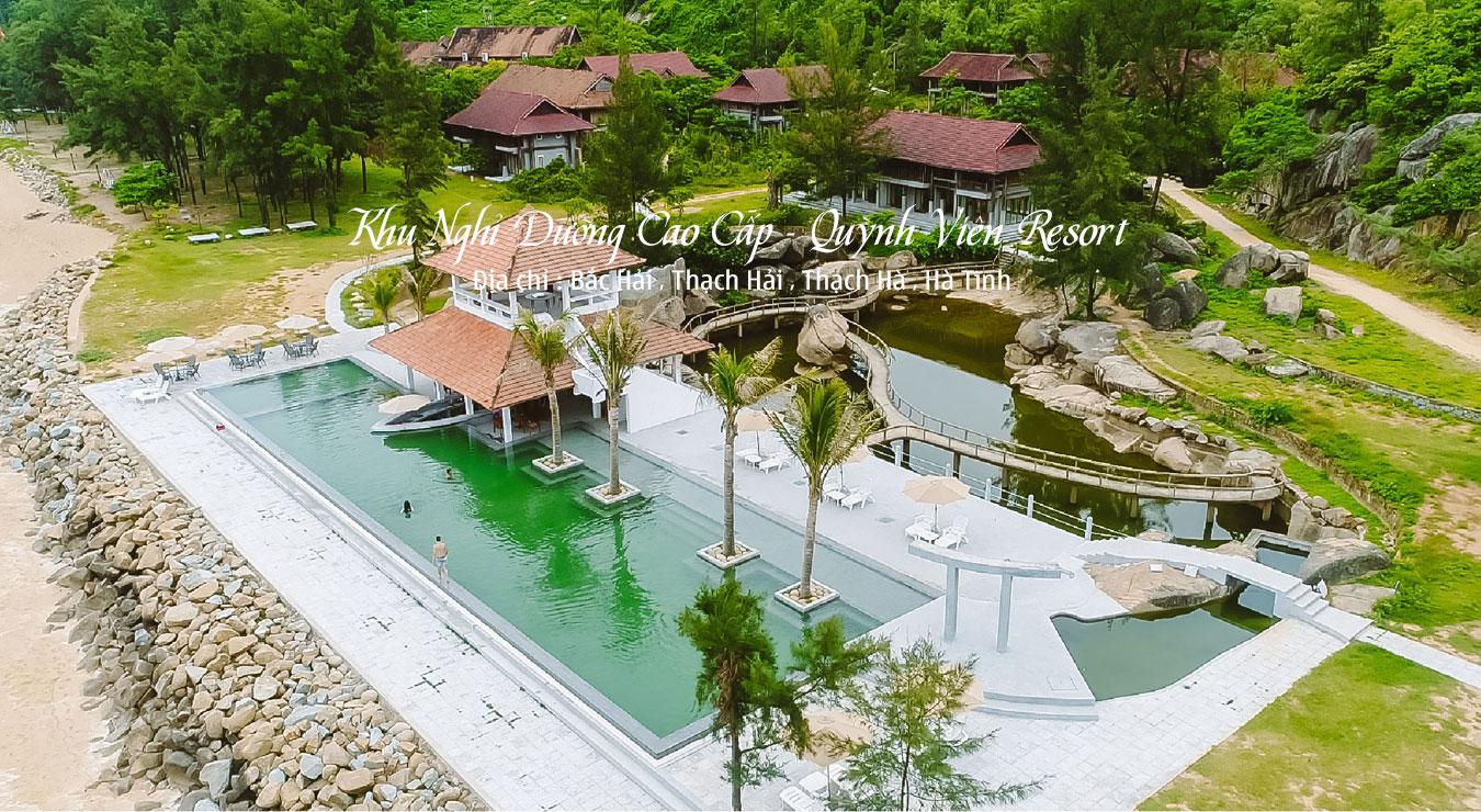 Bể Bơi Tràn kết hợp quầy bar Resort Quỳnh Viên