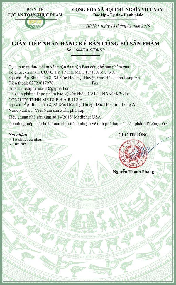 giấy phép an toàn thực phẩm calci nano k2 viên nang mềm