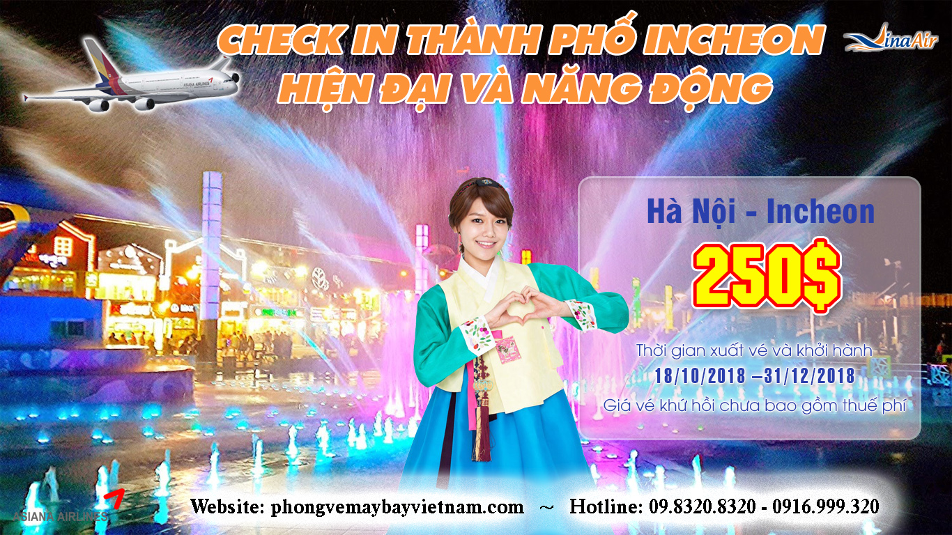 CHỤP ẢNH CHECK IN Ở INCHEON CÙNG ASIANA AIRLINES