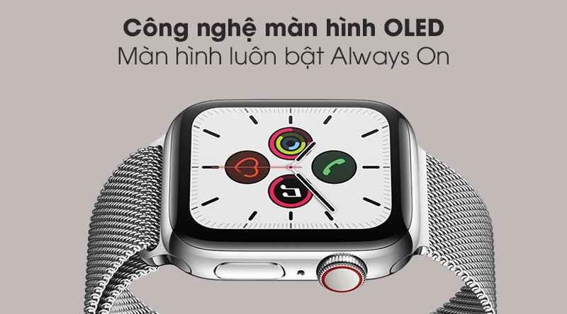 Apple Watch S5 LTE 40mm viền thép dây thép - Chính hãng VN/A