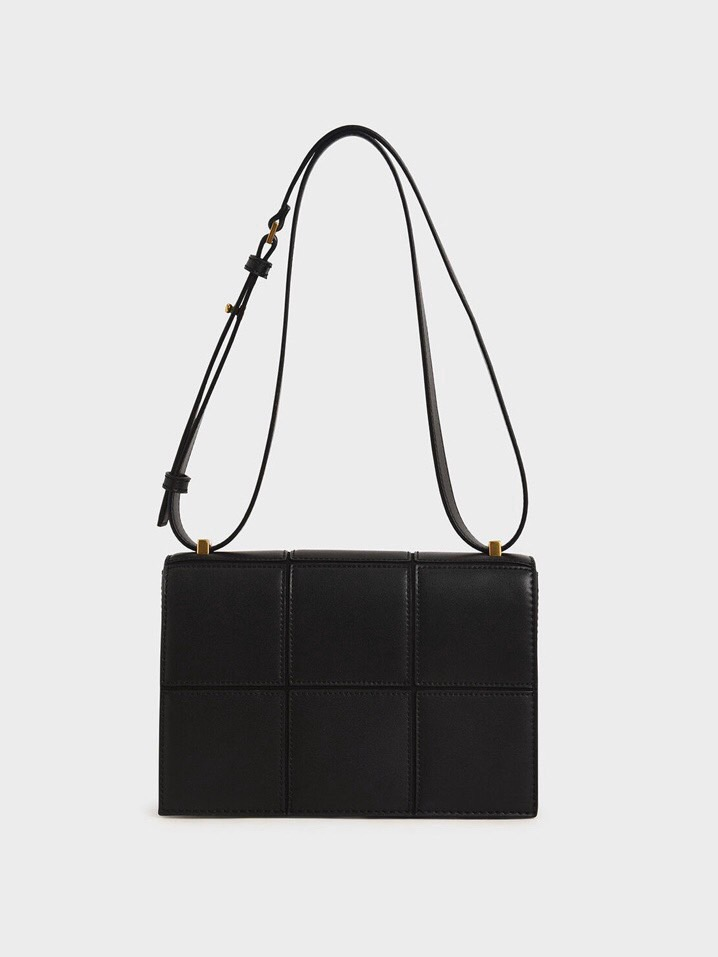 TÚI CH🅰️RLES & KEITH Textured Panelled Shoulder Bag